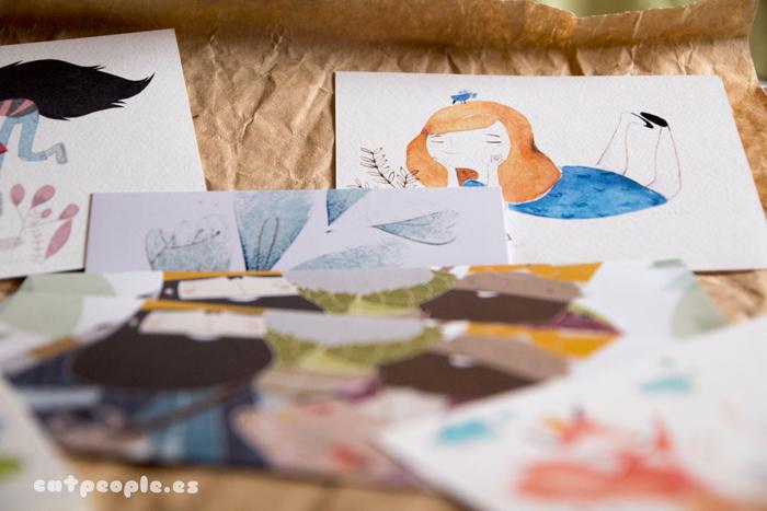 Postales, libreta, cuaderno y marcapáginas de Eva Carot - detalle Alicia