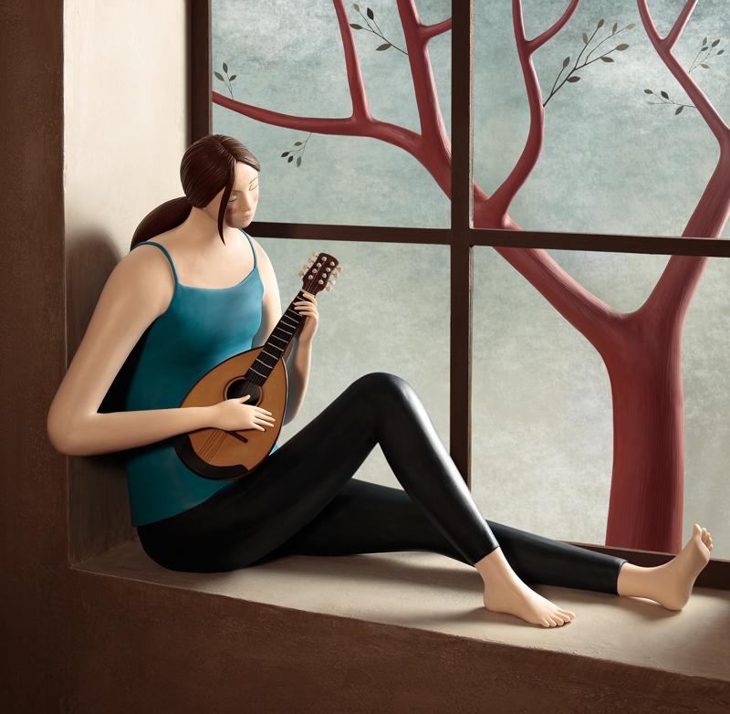 Irma Gruenholz - Chica en la ventana tocando el Banjo