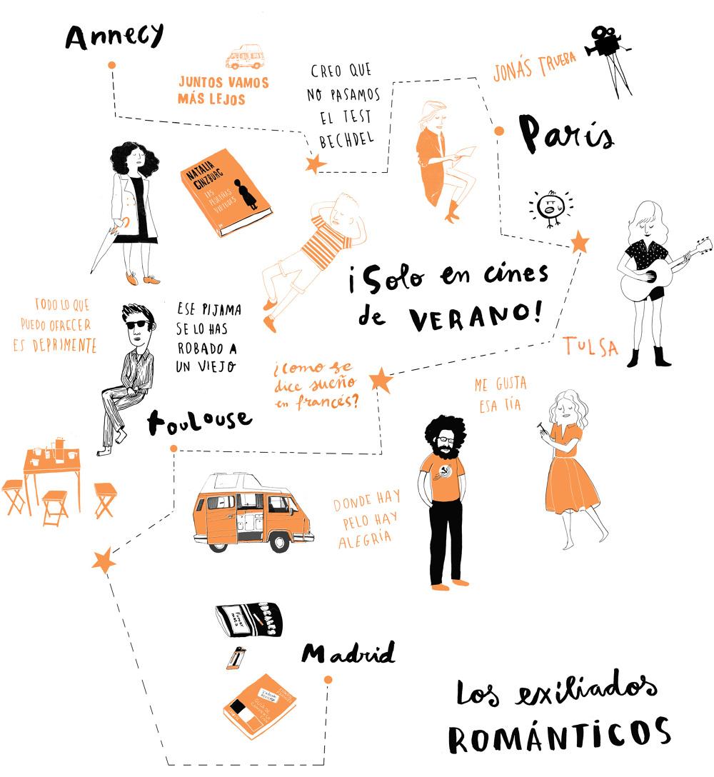 Mapa de Los Exiliados Románticos por Clara León